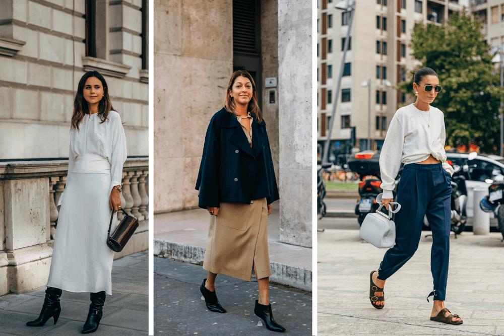 Mulheres com tons básicos, ótimos para a moda minimalista feminina.